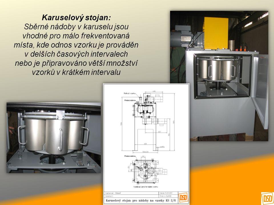 Karuselový stojan: Sběrné nádoby v karuselu jsou vhodné pro málo frekventovaná místa, kde odnos vzorku je prováděn v delších časových intervalech nebo