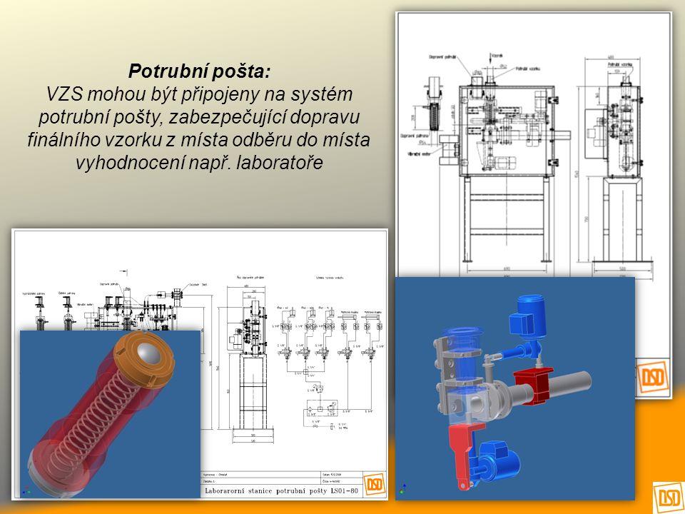 Potrubní pošta: VZS mohou být připojeny na systém potrubní pošty, zabezpečující dopravu finálního vzorku z místa odběru do místa vyhodnocení např. lab