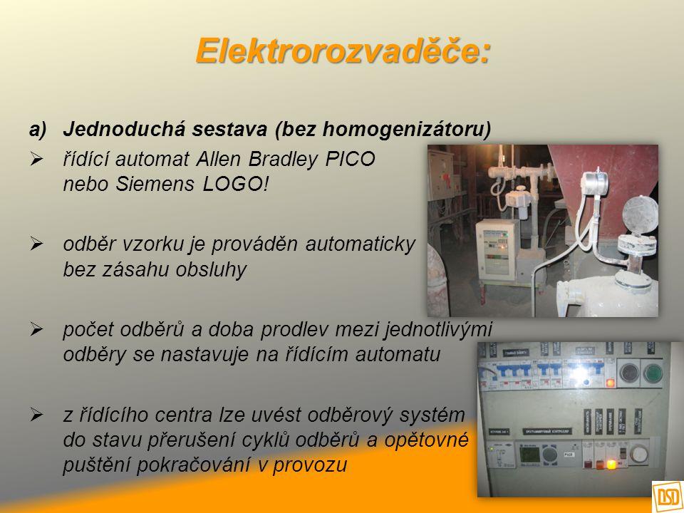 Elektrorozvaděče: a)Jednoduchá sestava (bez homogenizátoru)  řídící automat Allen Bradley PICO nebo Siemens LOGO!  odběr vzorku je prováděn automati