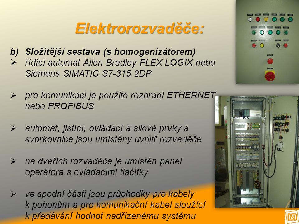 Elektrorozvaděče: b)Složitější sestava (s homogenizátorem)  řídící automat Allen Bradley FLEX LOGIX nebo Siemens SIMATIC S7-315 2DP  pro komunikaci