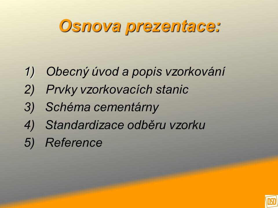 1) 1) Obecný úvod a popis vzorkování 2) Prvky vzorkovacích stanic 3) Schéma cementárny 4) Standardizace odběru vzorku 5) Reference Osnova prezentace: