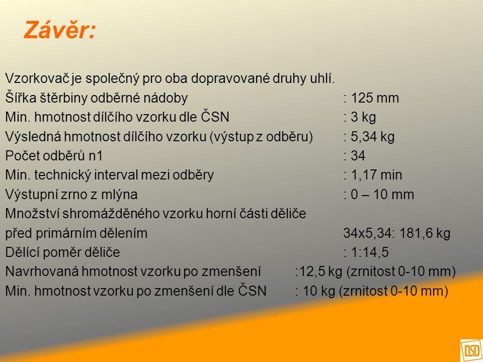 Závěr: Vzorkovač je společný pro oba dopravované druhy uhlí. Šířka štěrbiny odběrné nádoby: 125 mm Min. hmotnost dílčího vzorku dle ČSN : 3 kg Výsledn