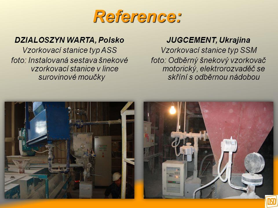Reference: DZIALOSZYN WARTA, Polsko Vzorkovací stanice typ ASS foto: Instalovaná sestava šnekové vzorkovací stanice v lince surovinové moučky JUGCEMEN
