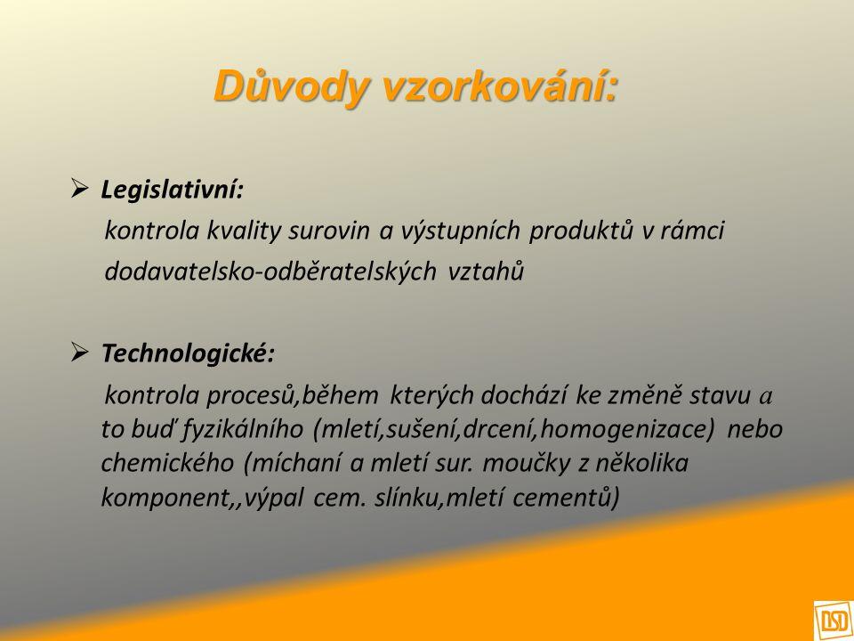 Důvody vzorkování:  Legislativní: kontrola kvality surovin a výstupních produktů v rámci dodavatelsko-odběratelských vztahů  Technologické: kontrola