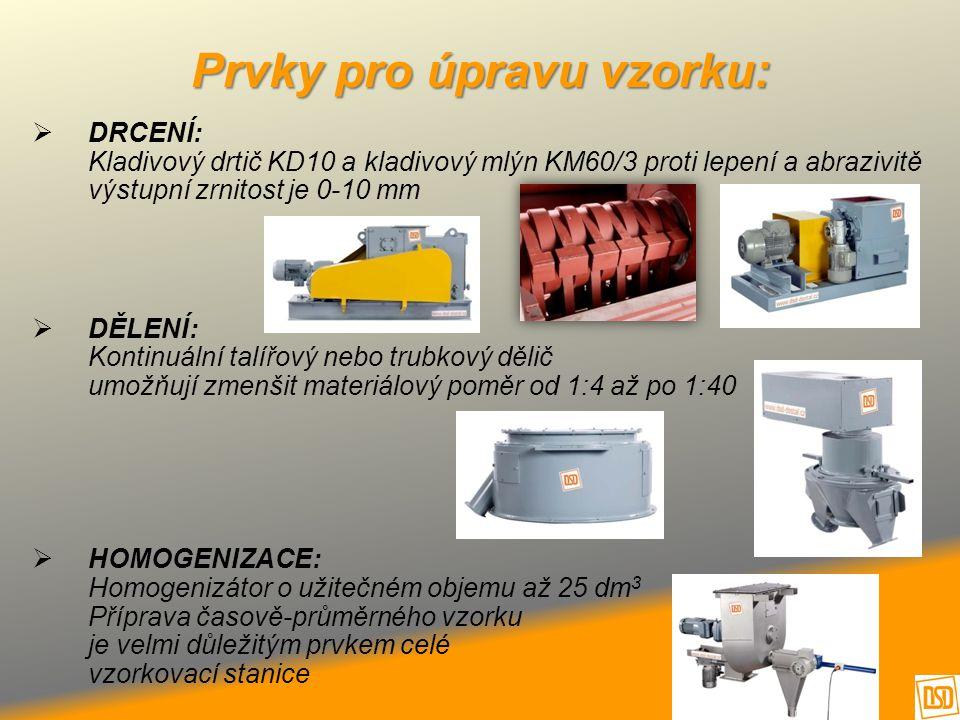 Prvky pro úpravu vzorku:  DRCENÍ: Kladivový drtič KD10 a kladivový mlýn KM60/3 proti lepení a abrazivitě výstupní zrnitost je 0-10 mm  DĚLENÍ: Konti