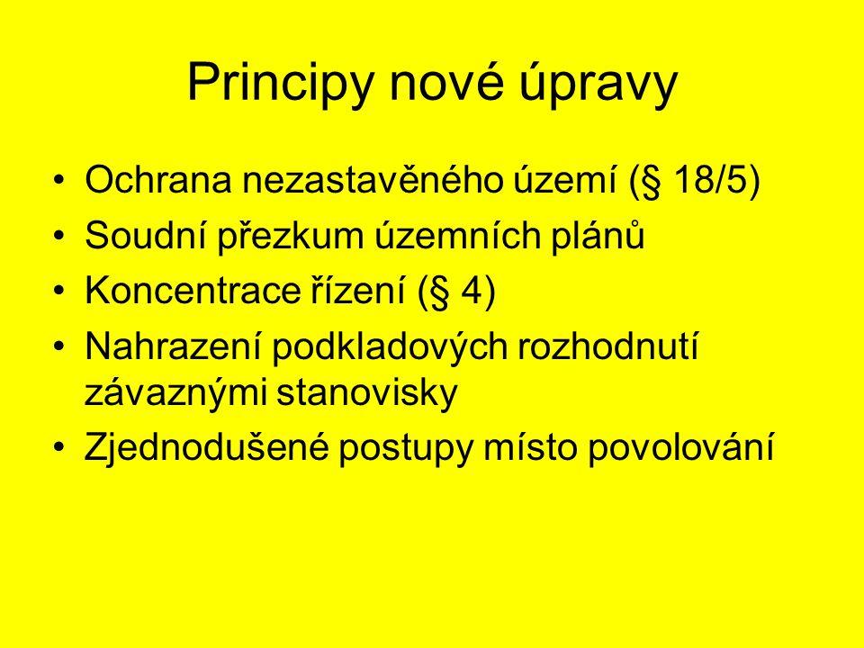 Principy nové úpravy Zlepšení informování veřejnosti v ÚŘ Částečná privatizace stavebního řízení Zhoršení ochrany práv dotčených osob (s výjimkou ÚP)