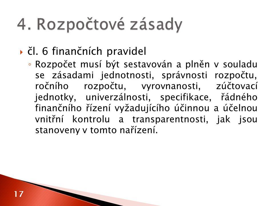  čl. 6 finančních pravidel ◦ Rozpočet musí být sestavován a plněn v souladu se zásadami jednotnosti, správnosti rozpočtu, ročního rozpočtu, vyrovnano