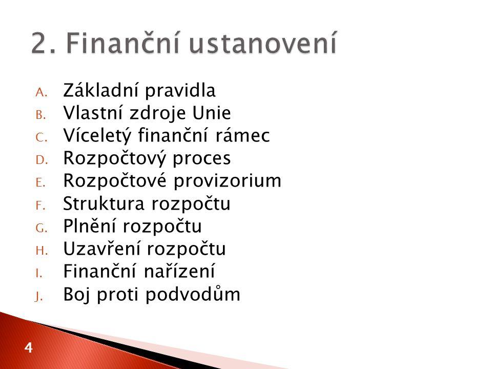 A. Základní pravidla B. Vlastní zdroje Unie C. Víceletý finanční rámec D.