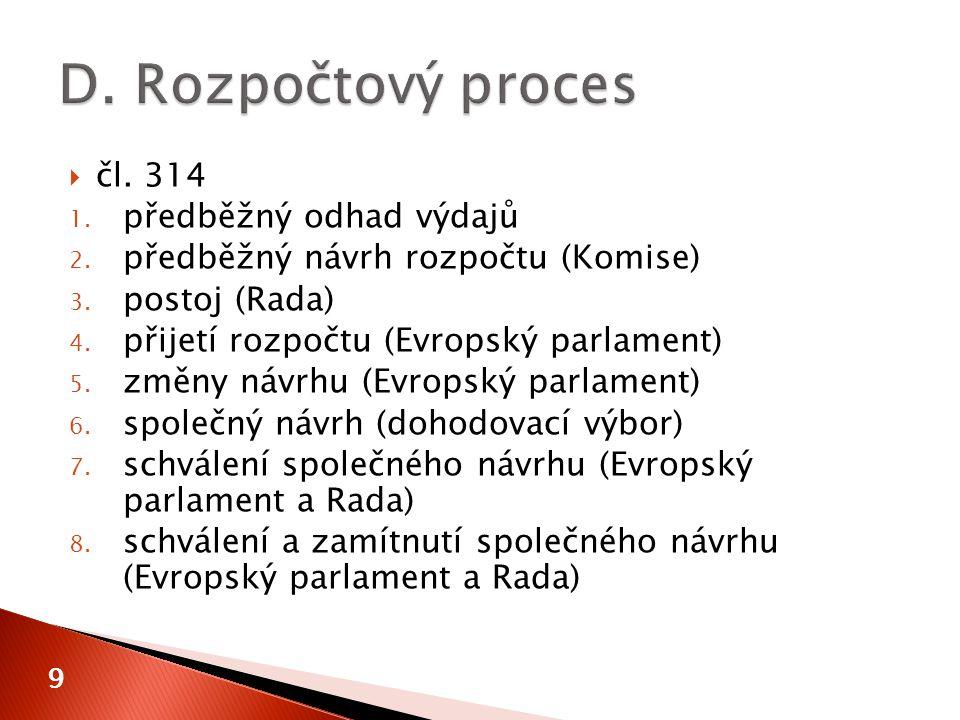9  čl. 314 1. předběžný odhad výdajů 2. předběžný návrh rozpočtu (Komise) 3.