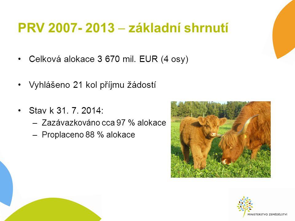PRV 2007- 2013  základní shrnutí Celková alokace 3 670 mil. EUR (4 osy) Vyhlášeno 21 kol příjmu žádostí Stav k 31. 7. 2014: –Zazávazkováno cca 97 % a
