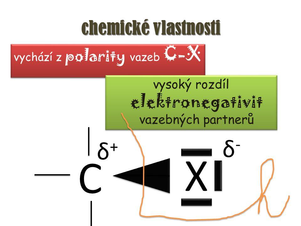 chemické vlastnosti vychází z polarity vazeb C-X vysoký rozdíl elektronegativit vazebných partnerů C X δ-δ- δ+δ+