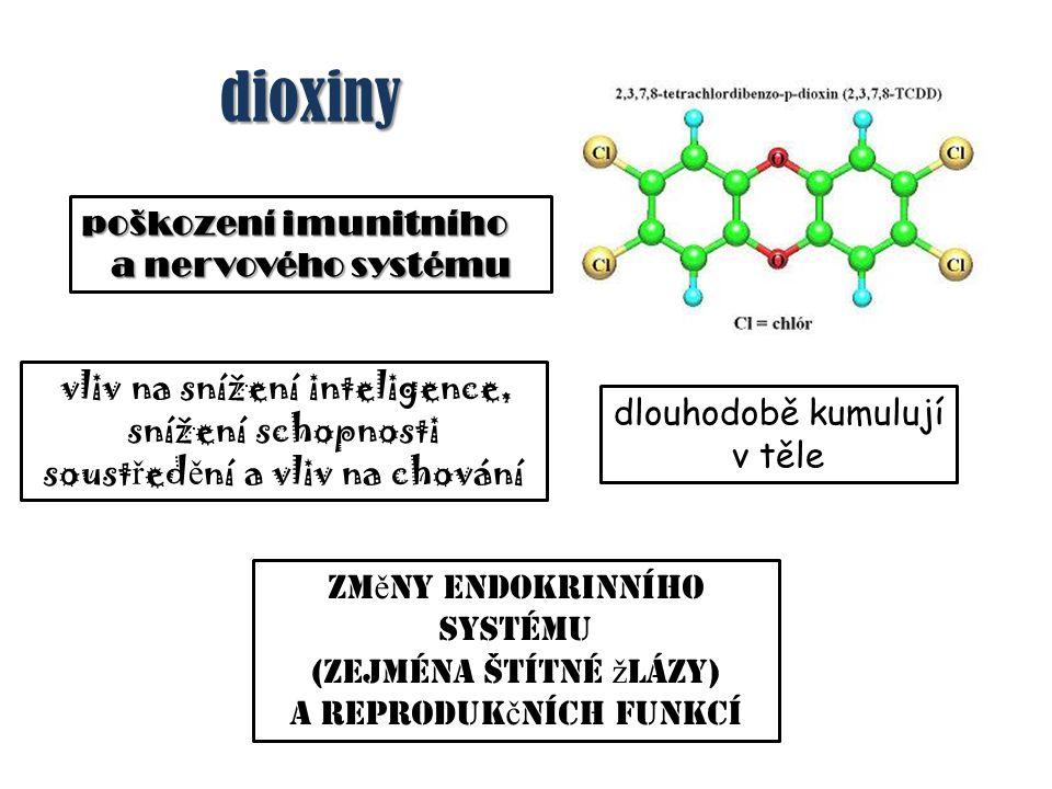 dioxiny dioxiny poškození imunitního a nervového systému zm ě ny endokrinního systému (zejména štítné ž lázy) a reproduk č ních funkcí vliv na snížení inteligence, snížení schopnosti soust ř ed ě ní a vliv na chování dlouhodobě kumulují v těle