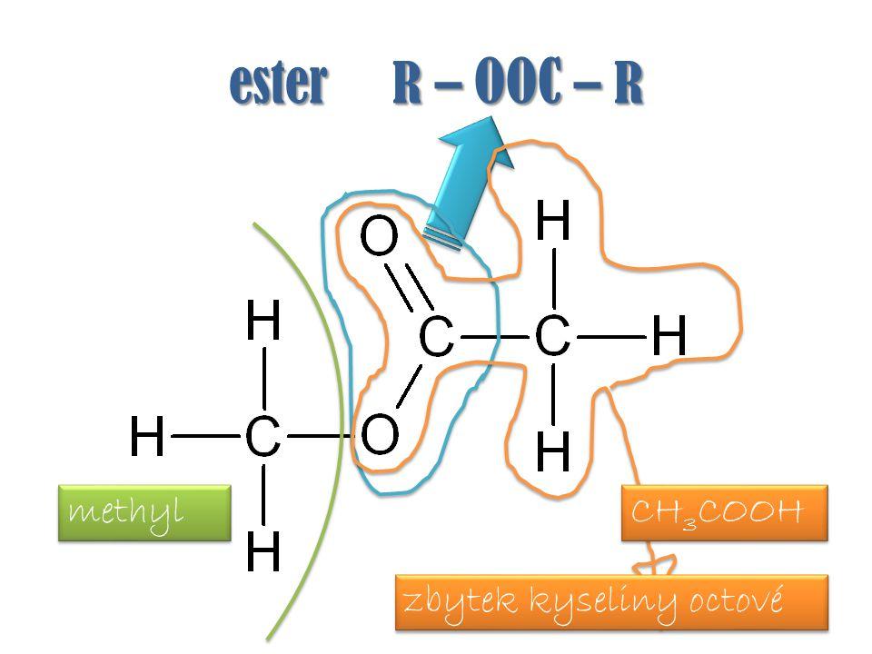 ester R – OOC – R methyl zbytek kyseliny octové CH 3 COOH