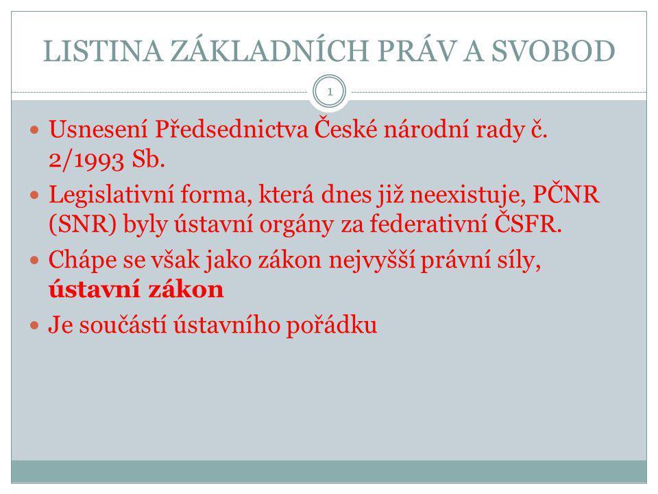LISTINA ZÁKLADNÍCH PRÁV A SVOBOD Usnesení Předsednictva České národní rady č. 2/1993 Sb. Legislativní forma, která dnes již neexistuje, PČNR (SNR) byl
