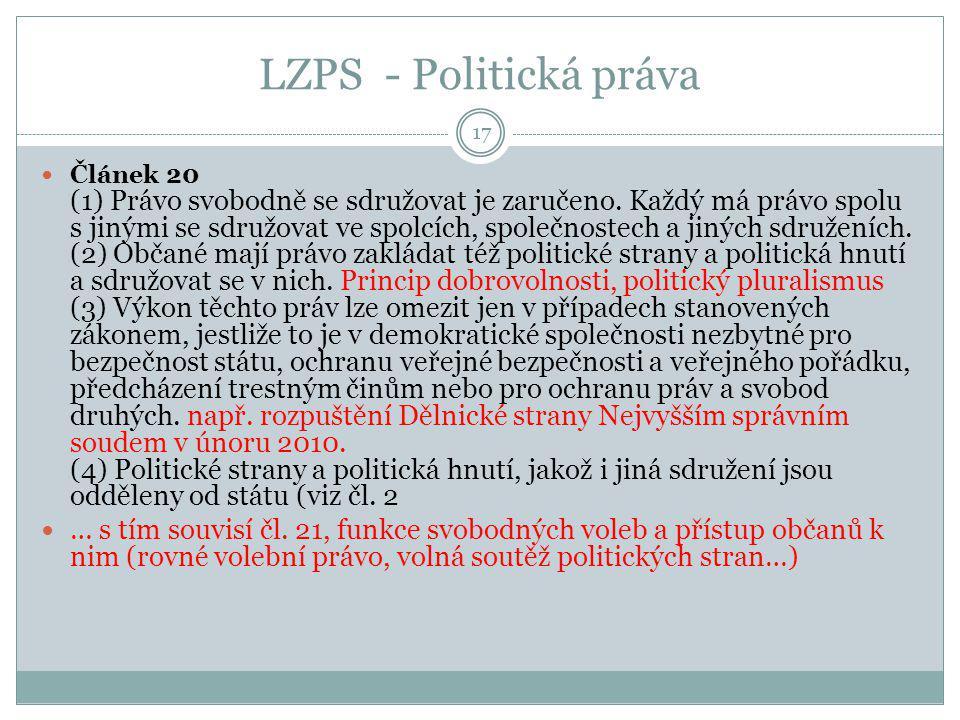 LZPS - Politická práva 17 Článek 20 (1) Právo svobodně se sdružovat je zaručeno. Každý má právo spolu s jinými se sdružovat ve spolcích, společnostech