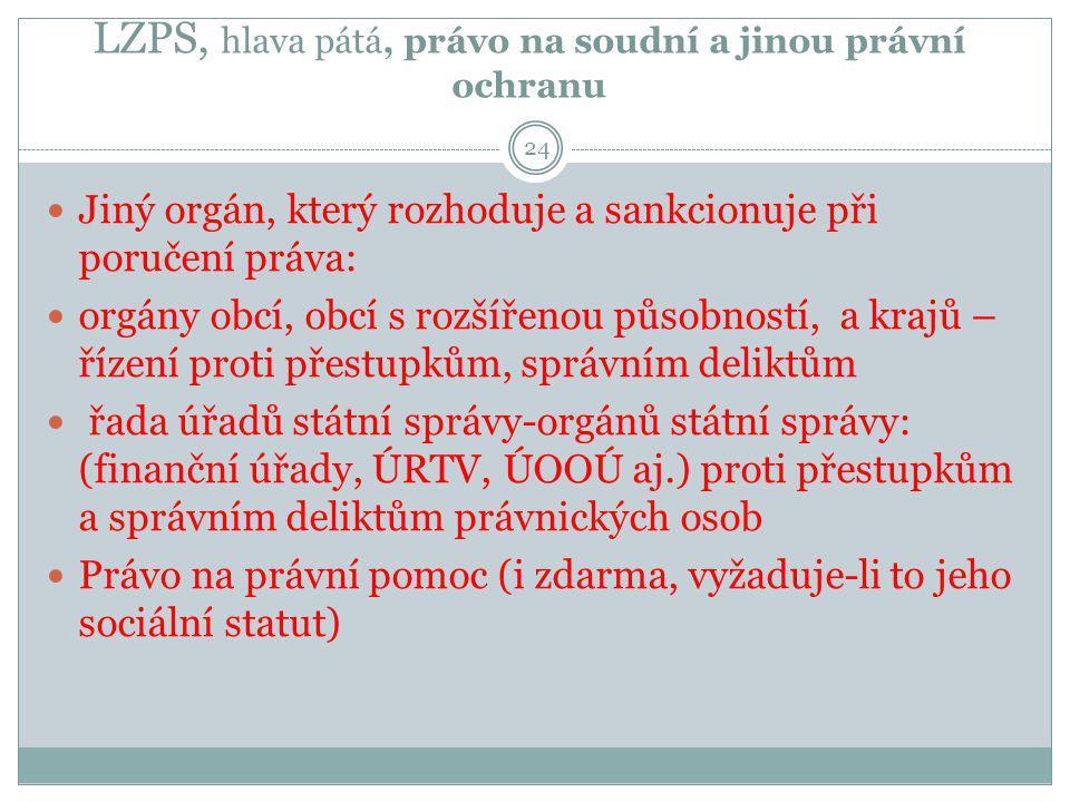 LZPS, hlava pátá, právo na soudní a jinou právní ochranu 24 Jiný orgán, který rozhoduje a sankcionuje při poručení práva: orgány obcí, obcí s rozšířen