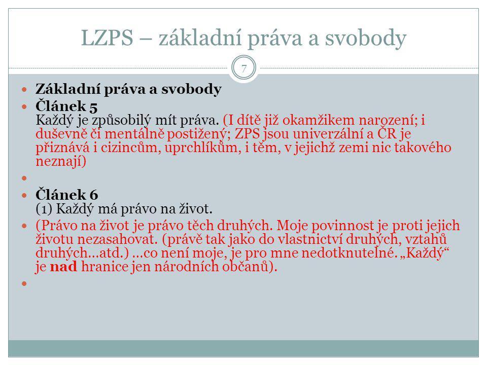 LZPS – Politická práva 18 Čl.