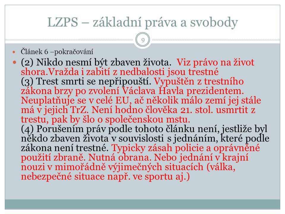 LZPS, hlava čtvrtá, hospodářská, sociální a kulturní práva 20 Čl.