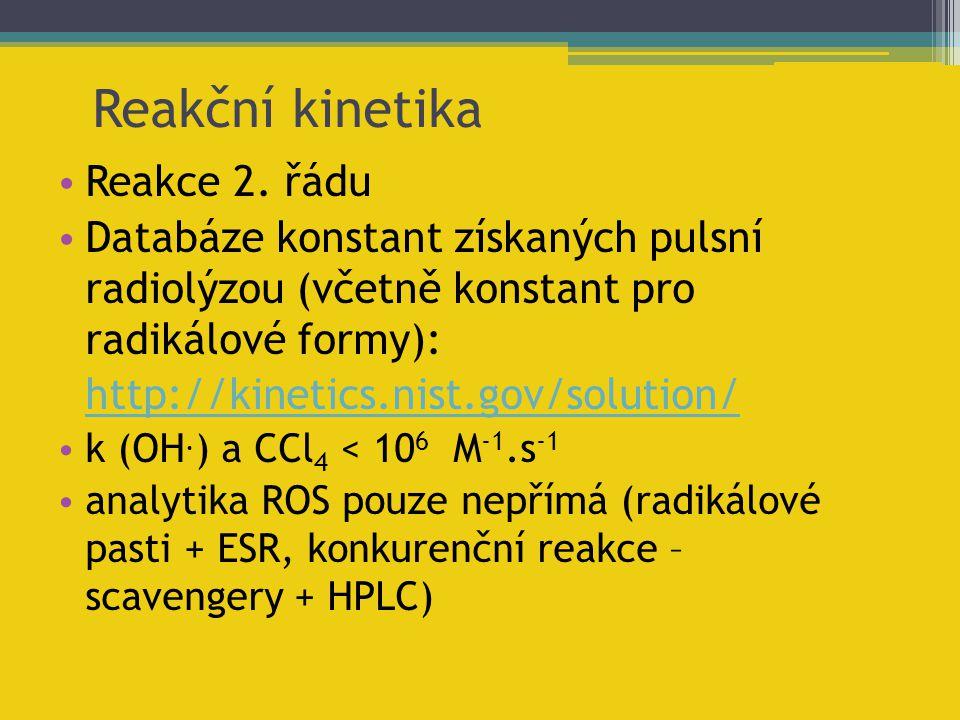 Reakce 2. řádu Databáze konstant získaných pulsní radiolýzou (včetně konstant pro radikálové formy): http://kinetics.nist.gov/solution/ k (OH. ) a CCl