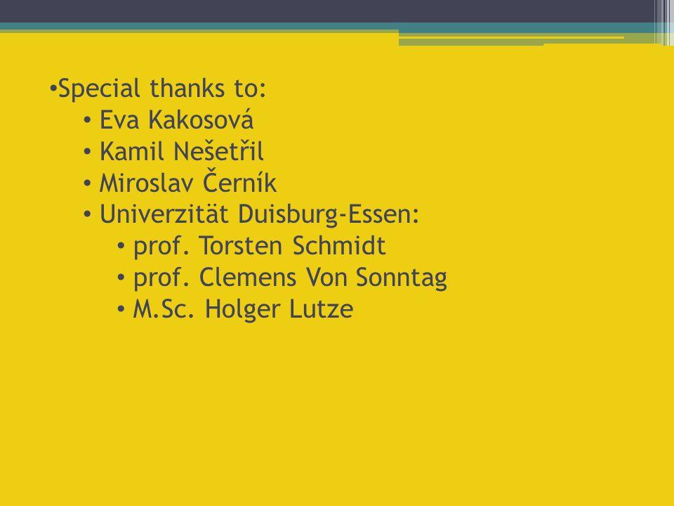 Special thanks to: Eva Kakosová Kamil Nešetřil Miroslav Černík Univerzität Duisburg-Essen: prof. Torsten Schmidt prof. Clemens Von Sonntag M.Sc. Holge