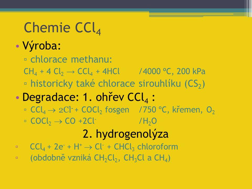 Chemie CCl 4 Výroba: ▫ chlorace methanu: CH 4 + 4 Cl 2 → CCl 4 + 4HCl/4000 º C, 200 kPa ▫ historicky také chlorace sirouhlíku (CS 2 ) Degradace: 1. oh