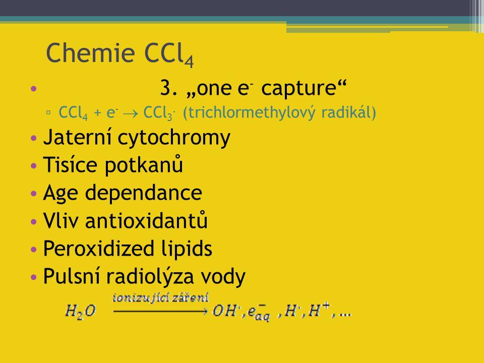 """Chemie CCl 4 3. """"one e - capture"""" ▫ CCl 4 + e -  CCl 3. (trichlormethylový radikál) Jaterní cytochromy Tisíce potkanů Age dependance Vliv antioxidant"""