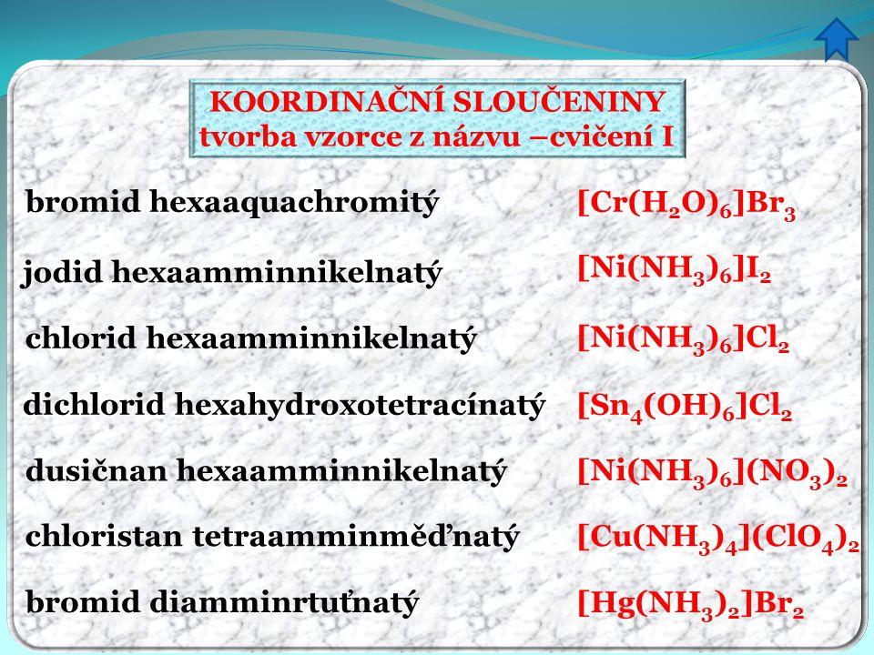 KOORDINAČNÍ SLOUČENINY tvorba vzorce z názvu –cvičení I bromid hexaaquachromitý jodid hexaamminnikelnatý chlorid hexaamminnikelnatý dichlorid hexahydr
