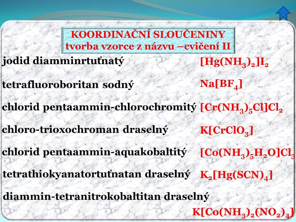 KOORDINAČNÍ SLOUČENINY tvorba vzorce z názvu –cvičení II jodid diamminrtuťnatý tetrafluoroboritan sodný chlorid pentaammin-chlorochromitý chloro-triox
