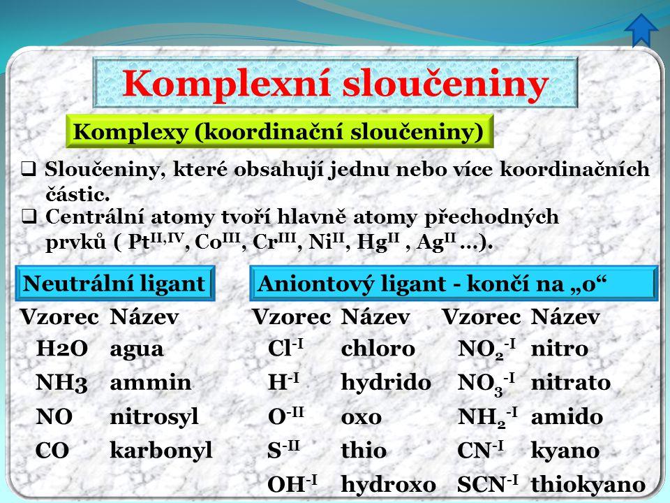 Komplexní sloučeniny  Centrální atomy tvoří hlavně atomy přechodných prvků ( Pt II,IV, Co III, Cr III, Ni II, Hg II, Ag II …). Komplexy (koordinační