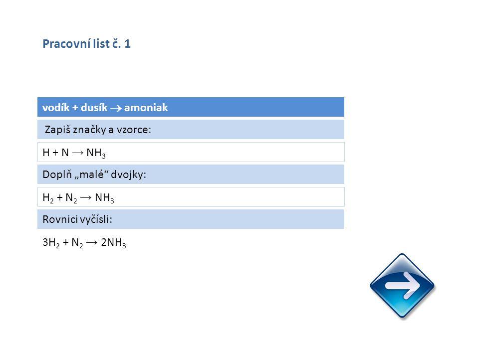 """vodík + dusík  amoniak H + N → NH 3 3H 2 + N 2 → 2NH 3 Zapiš značky a vzorce: Doplň """"malé dvojky: H 2 + N 2 → NH 3 Rovnici vyčísli: Pracovní list č."""