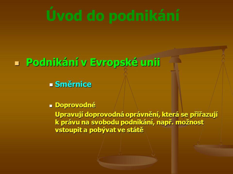 Úvod do podnikání Podnikání v Evropské unii Podnikání v Evropské unii Směrnice Směrnice Doprovodné Doprovodné Upravují doprovodná oprávnění, která se