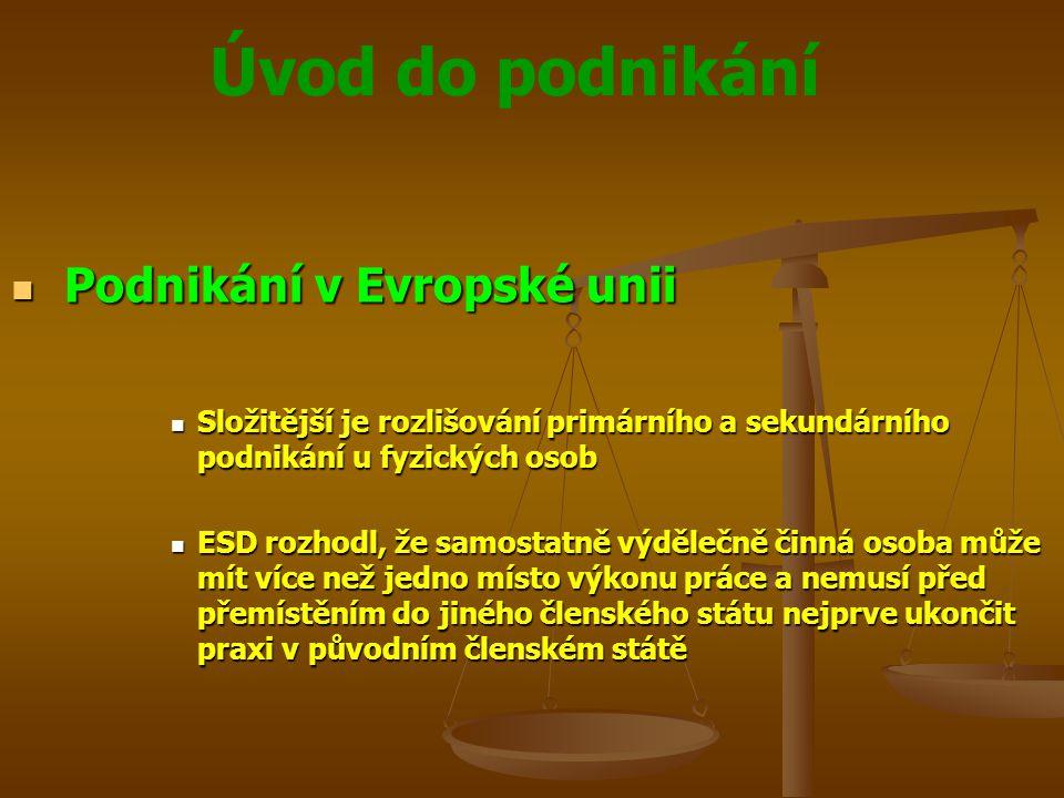 Úvod do podnikání Podnikání v Evropské unii Podnikání v Evropské unii Složitější je rozlišování primárního a sekundárního podnikání u fyzických osob S