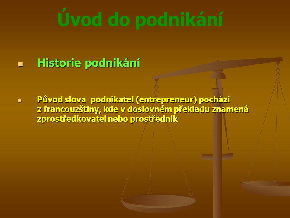 Úvod do podnikání Historie podnikání Historie podnikání Původ slova podnikatel (entrepreneur) pochází z francouzštiny, kde v doslovném překladu znamen