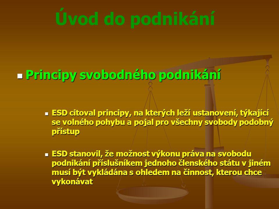 Úvod do podnikání Principy svobodného podnikání Principy svobodného podnikání ESD citoval principy, na kterých leží ustanovení, týkající se volného po