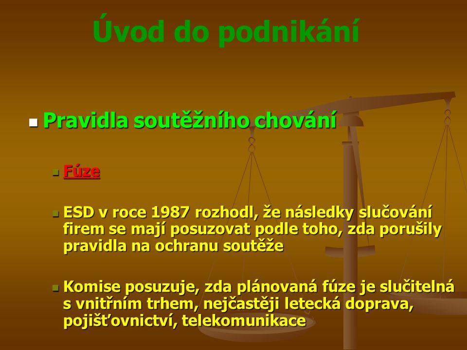Úvod do podnikání Pravidla soutěžního chování Pravidla soutěžního chování Fúze Fúze ESD v roce 1987 rozhodl, že následky slučování firem se mají posuz