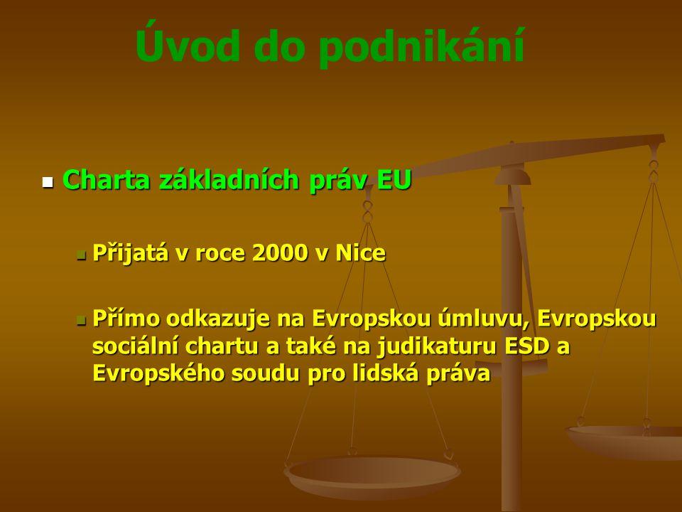 Úvod do podnikání Charta základních práv EU Charta základních práv EU Přijatá v roce 2000 v Nice Přijatá v roce 2000 v Nice Přímo odkazuje na Evropsko