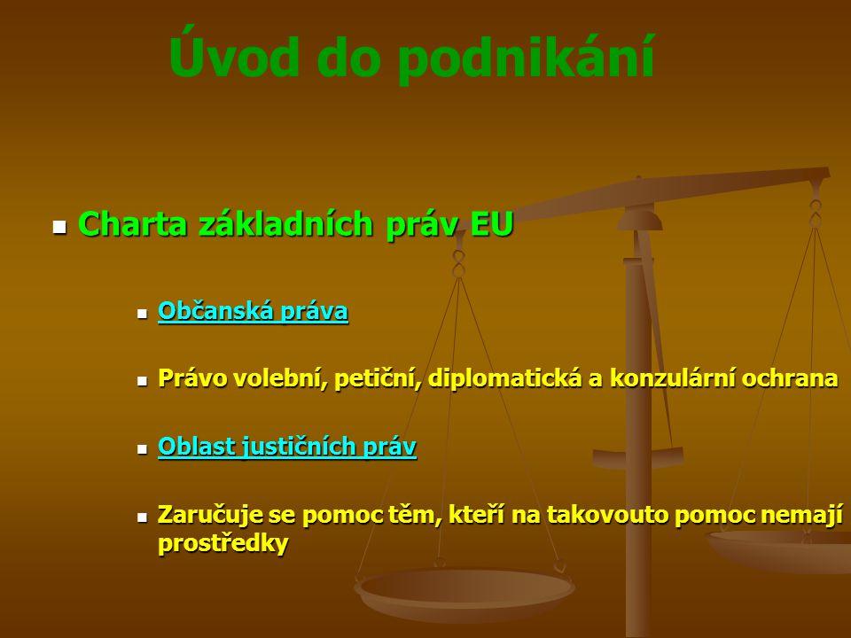 Úvod do podnikání Charta základních práv EU Charta základních práv EU Občanská práva Občanská práva Právo volební, petiční, diplomatická a konzulární