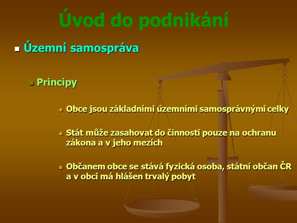 Úvod do podnikání Územní samospráva Územní samospráva Principy Principy Obce jsou základními územními samosprávnými celky Obce jsou základními územním