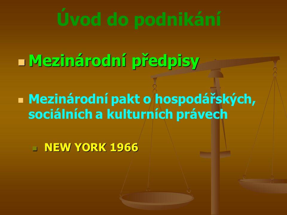 Úvod do podnikání Mezinárodní předpisy Mezinárodní předpisy Mezinárodní pakt o hospodářských, sociálních a kulturních právech NEW YORK 1966 NEW YORK 1