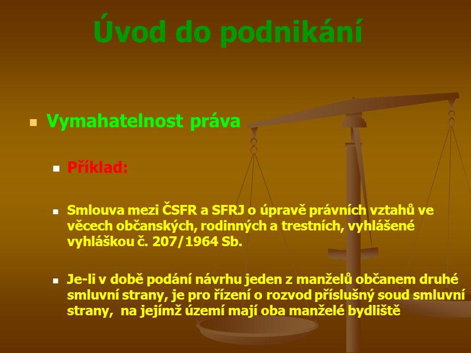 Úvod do podnikání Vymahatelnost práva Příklad: Smlouva mezi ČSFR a SFRJ o úpravě právních vztahů ve věcech občanských, rodinných a trestních, vyhlášen