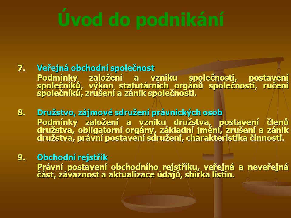 Úvod do podnikání Spory s mezinárodním prvkem Zákon č.