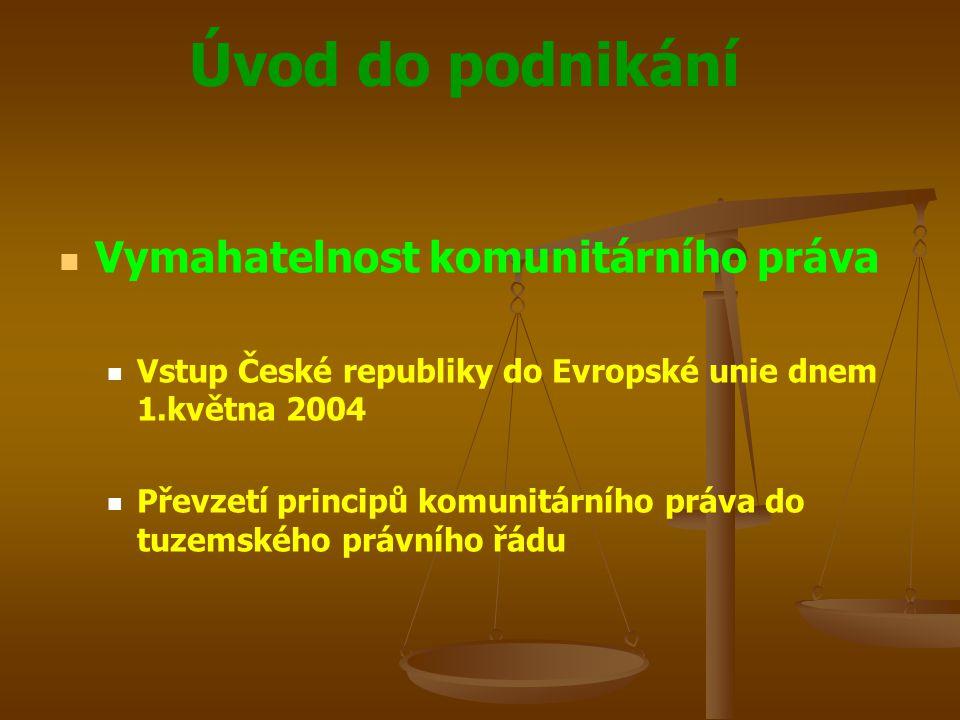 Úvod do podnikání Vymahatelnost komunitárního práva Vstup České republiky do Evropské unie dnem 1.května 2004 Převzetí principů komunitárního práva do
