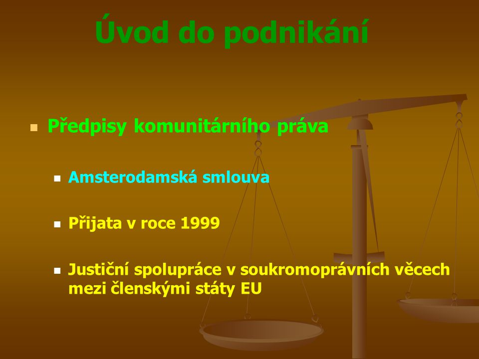 Úvod do podnikání Předpisy komunitárního práva Amsterodamská smlouva Přijata v roce 1999 Justiční spolupráce v soukromoprávních věcech mezi členskými
