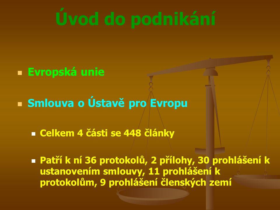 Úvod do podnikání Evropská unie Smlouva o Ústavě pro Evropu Celkem 4 části se 448 články Patří k ní 36 protokolů, 2 přílohy, 30 prohlášení k ustanoven