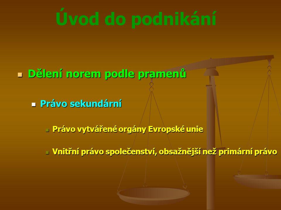 Úvod do podnikání Dělení norem podle pramenů Dělení norem podle pramenů Právo sekundární Právo sekundární Právo vytvářené orgány Evropské unie Právo v