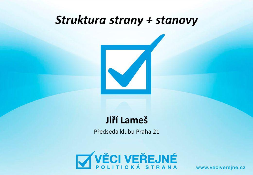 Struktura strany + stanovy Jiří Lameš Předseda klubu Praha 21