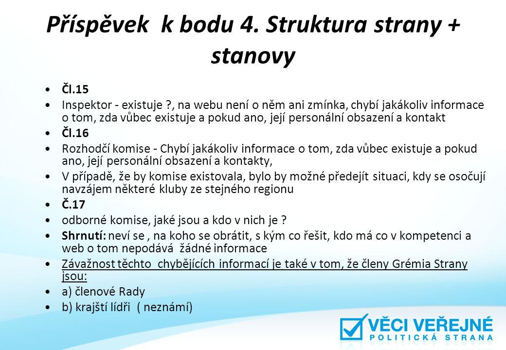 Příspěvek k bodu 4. Struktura strany + stanovy Čl.15 Inspektor - existuje ?, na webu není o něm ani zmínka, chybí jakákoliv informace o tom, zda vůbec