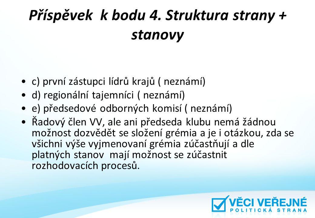 Příspěvek k bodu 4. Struktura strany + stanovy c) první zástupci lídrů krajů ( neznámí) d) regionální tajemníci ( neznámí) e) předsedové odborných kom