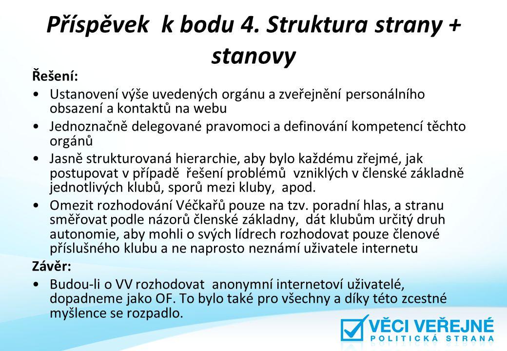 Příspěvek k bodu 4. Struktura strany + stanovy Řešení: Ustanovení výše uvedených orgánu a zveřejnění personálního obsazení a kontaktů na webu Jednozna