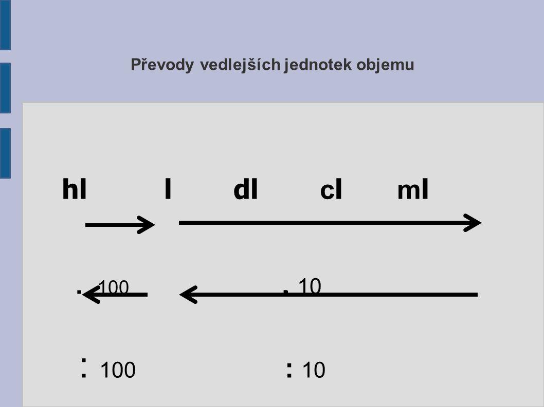 Převody vedlejších jednotek objemu hl l dl c l m l.. 100. 10 : 100 : 10